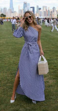 LOOKS FOR LESS: My Top 8 Most-Liked Looks, Recreated // Gingham one-shoulder asymmetric dress, straw bag + white block heel pumps {Rosetta Getty, Prada, Veuve Clicquot Polo Match} Mode Outfits, Dress Outfits, Dress Up, Fashion Outfits, Womens Fashion, Dress Fashion, Fasion, Trendy Outfits, Wrap Dress