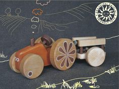 eco-friendly wooden toy tractor, handmade in Lithuania by friendlytoys on Etsy $35