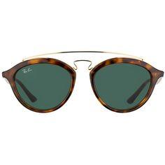 Ray-Ban Gatsby II RB 4257 710/71 Havana Fashion Plastic Sunglasses -... (600 RON) ❤ liked on Polyvore featuring accessories, eyewear, sunglasses, ray ban glasses, ray ban sunnies, ray ban sunglasses, plastic glasses and plastic sunglasses