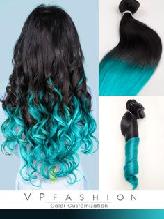 Black / Brown Hair Extensions with Blue Tips