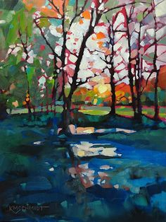 Midwinter Hope fauve impressionist expressionist sunset Louisiana landscape oil painting • postimpressionist illustration of winter trees Southern landscape by artist KMSchmidt