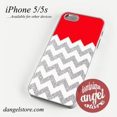 Red Silver Glitter Chevron Phone case for iPhone 4/4s/5/5c/5s/6/6 plus