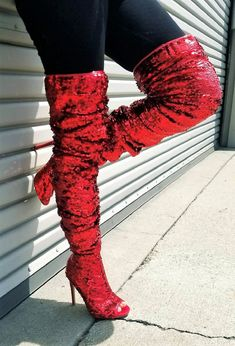 59dc42e872b9 Weboo Dazzle01 Thigh High Over Knee Sequin Sparkle Open Toe Stiletto Heel  Boot Red 10 >