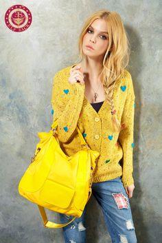Womens V-neck Long Sleeve Yellow Cardigans,$49