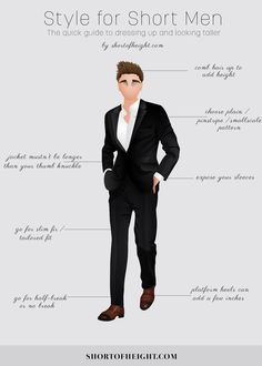 Style Tips for Short Men Infographic #Men, #Fashion, #Infographics