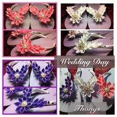 Wedding day kanzashi flower thongs flip flops.