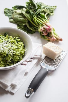 Light spinach risotto.