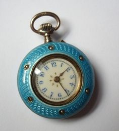 Antique Ladies Guilloche Enamel & Seed Pearl Pocket Watch