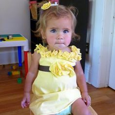 """yellow t-shirt to ruffle baby dress.  """"ruffle"""" is made from 3 layers of circles cut from T"""