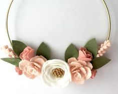 Blush Floral wreath hoop wall hanging - set of 3 floral hoops - Girls nursery wall decor - Flower nursery wall decor Flower Nursery, Baby Girl Nursery Decor, Chic Nursery, Nursery Rhymes, Baby Milestone Blanket, Floral Hoops, Flower Garlands, Newborn Photo Props, Felt Flowers