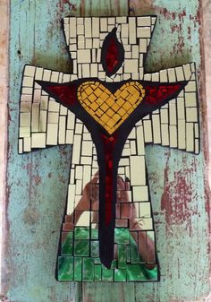 Large mosaic Cross with Gold Heart by DeniseMosaics on Etsy, $95.00 New Cross, surrounded by mirrored tile- just listed!