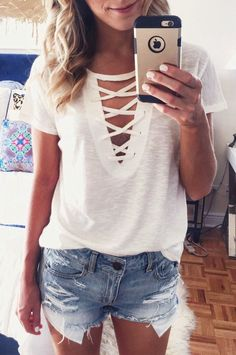 Throwback To This Snap Of One Of My Favorite Lace-up Tees Found A Few Nearly Identical Styles In Stores Now! Shop This Outfit In The Link