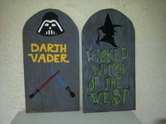 Darth and Wicked Witch Halloween Tombstones, Pinterest Projects, Wicked Witch, Plywood, Clock, Autumn, Home Decor, Watch, Homemade Home Decor