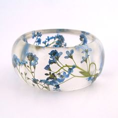 Ready to Ship:  Forget Me Nots Resin Bangle Bracelet -  - Blue Real Flowers Cuff -  Pressed Flower Bracelet for the Gardener or Nature Lover
