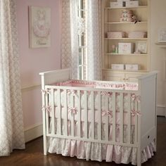 Pink and Taupe Damask Crib Bedding Collection by Carousel Designs - contemporary - kids - atlanta - Carousel Designs