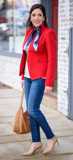 Sharing how to style a red blazer with jeans and a neck scarf. I love mixing dressy and casual pieces for a modern look.