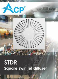 STDR Square swirl jet diffuser | Difuzor patrat cu jet turbionar ------ | #hvac | #acp | #manufacturer | #ventilation | #products | #romania | #ventilatie | #griledeventilatie | #producator | #technology