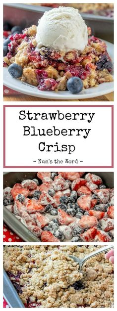 This Strawberry Blueberry Crisp is perfect for a quick toss together dessert during the week or for Sunday dinner! This Berry Crisp can be made with fresh, wilted or frozen blueberries and strawberries! The perfect dessert all year! Blueberry Crisp, Blueberry Desserts, Strawberry Cake Recipes, Strawberry Blueberry, Desserts With Strawberries, Cheesecake Strawberries, Chocolate Strawberries, Best Dessert Recipes, Easy Desserts