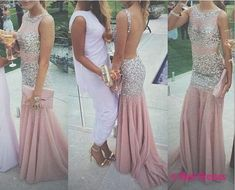 Backless Prom Dresses,Open Back Prom Dress,Crystals Prom Gown,Sparkly Prom Gowns,Elegant Evening Dress,Sparkle Evening Gowns,Mermaid Evening Gowns,Sexy Pink Prom Dress PD20184398