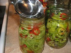 Canning Granny: Pickled Banana Peppers (vinegar, water, pickling salt, garlic cloves and sugar)