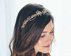 Bridal hair vine Bridal Headpiece Gold hair vine Crystal