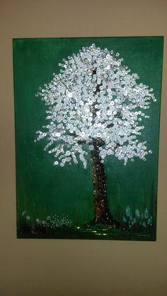 knopfbaum blühender apfelbaum mit perlen handgenäht