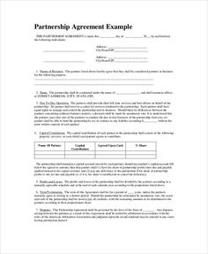 Business Partnership Agreement Template | 18 Best Partnership Agreement Templates Images On Pinterest Sample