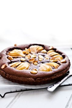 chocolate pear tart  http://www.mowielicious.com/home/2012/03/chocolate-pear-tart-cherry-blossoms.html