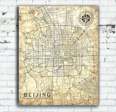 BEIJING Canvas Print China Vintage map Beijing China wall Art Poster City Vintage retro map Large Oversized Gift Home Decor beige poster map