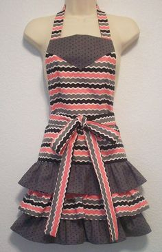 Retro Full Apron with Ruffles / Rick Rack and Polka by Eclectasie, $35.00