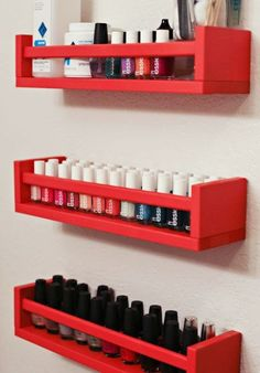 DIY nail polish storage using IKEA spice rack Would definitely like this for my future nailpolish collection haha LOVE! DIY nail polish storage using IKEA spice rack Would definitely… Diy Nail Polish Rack, Ikea Bekvam, Diy Casa, Diy Storage, Bathroom Storage, Storage Ideas, Ikea Bathroom, Bathroom Closet, Bathroom Ideas