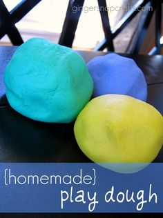homemade No-Cook Play Dough  4 cups flour  1 cup salt  4 tbsp oil  1 and 1/2 cups water  food coloring    First, mix the oil, water and food coloring together. Next, add the flour and salt. Then mix until pliable. (We used our hands to do that part.)  Then play!