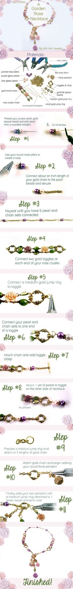 How To Make Garden Rose Necklace  To See The slide show http://slidesha.re/1ldlFNm