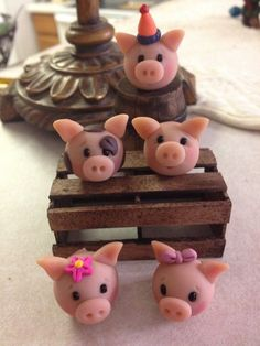 Party Pigs Cupcake Toppers or Polymer Clay Figurine