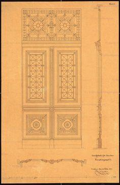 Haupteingangstür: Aufriss Schnitt, Maßstabsleiste, Inschrift: [u. r.] Breslau den 20