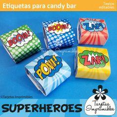 Etiquetas para candy bar personalizadas. Decoraciones imprimibles de fiesta con textos editables de superhéroes. Thor, Hulk, Batman, Superman, Spiderman, Ironman, Capitán América y Flash.