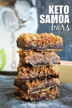 Keto Samoa Bars {THM:S, Low Carb, Ketogenic, Sugar-Free} - Fit Mom Journey #ketodesserts #ketorecipes #lowcarb