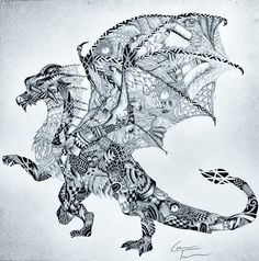Dragon A3 Zentangle by TelferZentangle on Etsy, £60.00