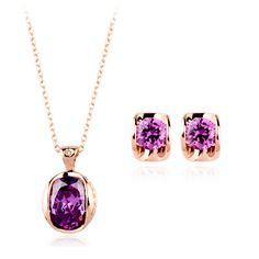 DCM Fashion Purple Crystal Necklace and Earrings Set Free Shipping   rose Gold Color Jewelry Set for women