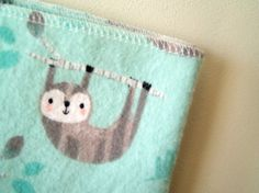 Extra Large Mint Sloth Flannel Baby Receiving by yeSweetheart