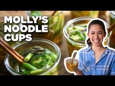 Homemade Noodle Cups with Molly Yeh | Food Network - YouTube New Recipes, Favorite Recipes, Kitchen Games, Ramen Soup, Oriental Food, Sugar Snap Peas, Eat Right, Soups And Stews