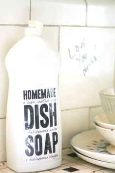 Homemade Dish Soap  :  1 cup liquid Castile soap    3 tablespoons water    a few drops essential oil (if using unscented Castile soap)    Combine in a vessel of your choice, mix well, and use.    No really. That's it. TOO EASY.
