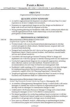 sample resume for someone seeking a job as an organizational development consultant - Sample Resume For Stay At Home Mom Returning To Work