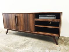 Mid century modern TV console record player pull out by MonkeHaus