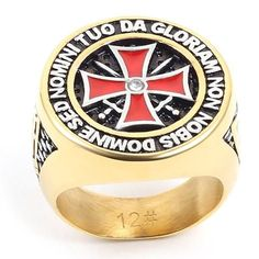 antique stainless steel gold/silver iron knights templar men cross ring //Price: $15.00 & FREE Shipping //     #assassinscreed