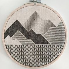 Items similar to Himalayas mountain hand embroidery Geometric Embroidery, Blackwork Embroidery, Embroidery On Clothes, Simple Embroidery, Hand Embroidery Stitches, Modern Embroidery, Embroidery Hoop Art, Hand Embroidery Designs, Cross Stitch Embroidery