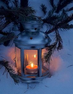 lantern in snow - All For Lamp İdeas Winter Szenen, Winter Magic, Winter Time, Winter Christmas, Winter Beauty, Winter Pictures, Jolie Photo, Winter Solstice, Candle Lanterns