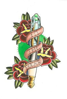 Doctor Who Tattoo Flash by HauntedLikeHouses on Etsy, $50.00