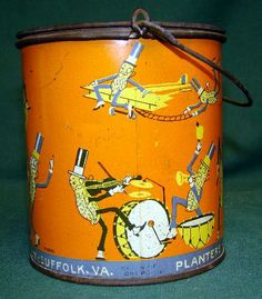 icollect247.com Online Vintage Antiques and Collectables - Planters Mr .Peanut peanut butter tin 1920s Advertising-Tins