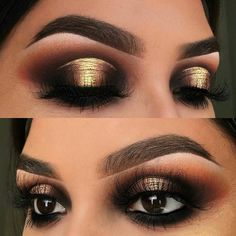 Makeup Looks For Dark Skin - Prom Makeup Black Girl Halo Eye Makeup, Black Eye Makeup, Gold Makeup, Dark Makeup, Black And Gold Eyeshadow, Prom Makeup, Dramatic Wedding Makeup, Dramatic Eye Makeup, Dramatic Eyes